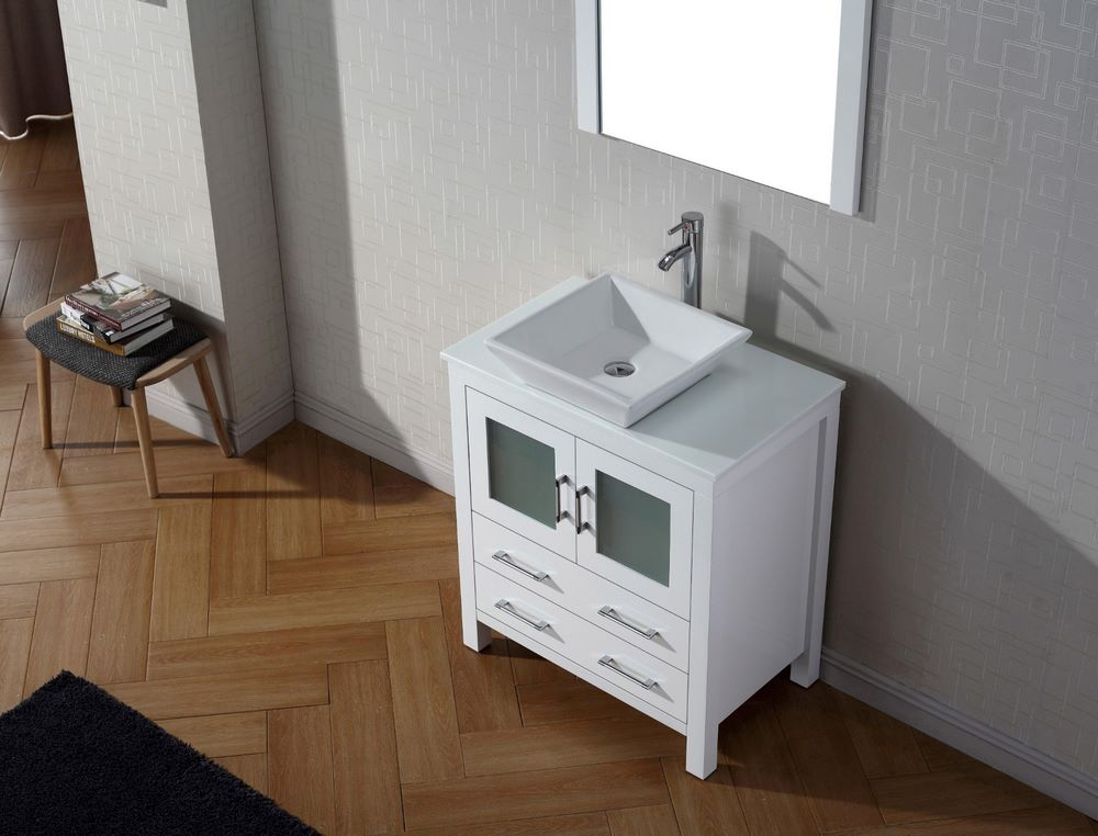 virtu usa dior 30 inch single bathroom vanity cabinet set w 2 drawers