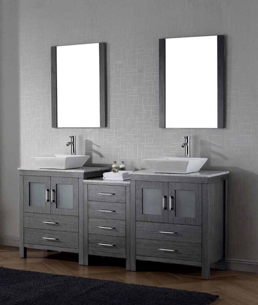 66 Quot Or 72 Quot Shown Woodpro Double Vanity Base With Virtu USA