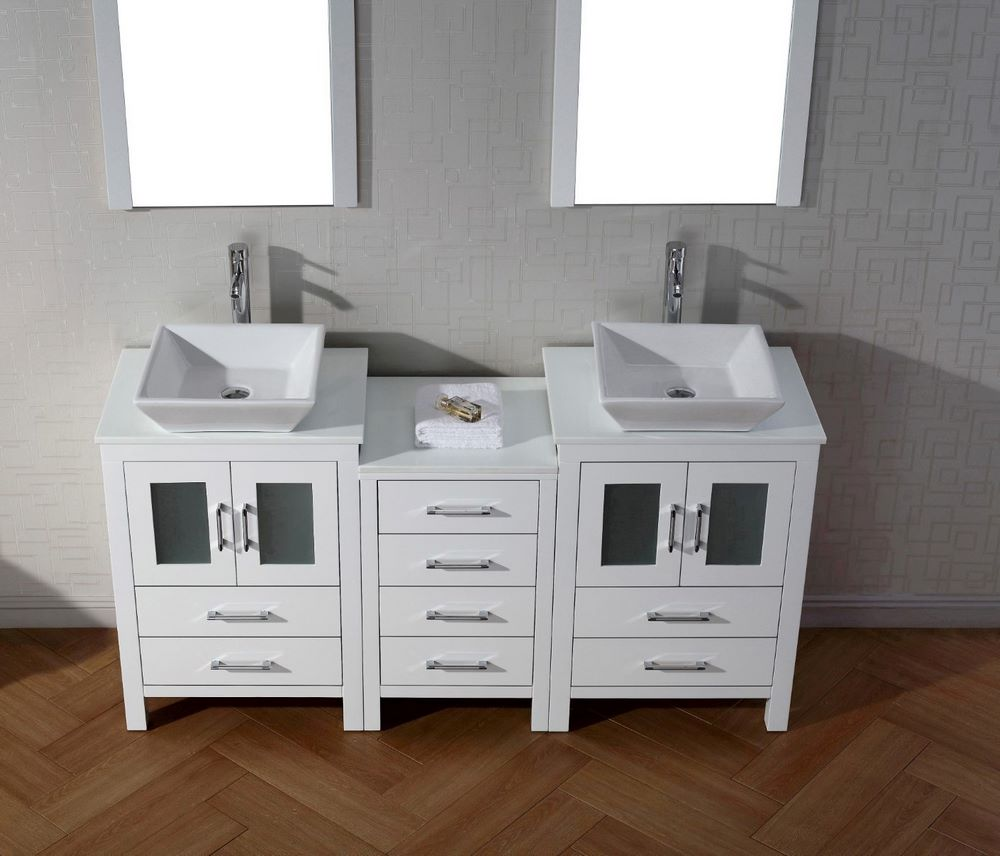Virtu USA Dior 66 Inch Double Bathroom Vanity Cabinet Set W 2 Mirrors In Whi