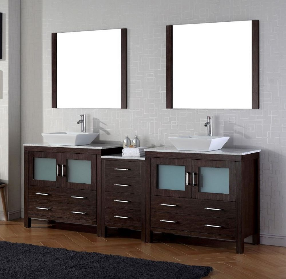virtu usa dior 78 inch double bathroom vanity cabinet set in espresso