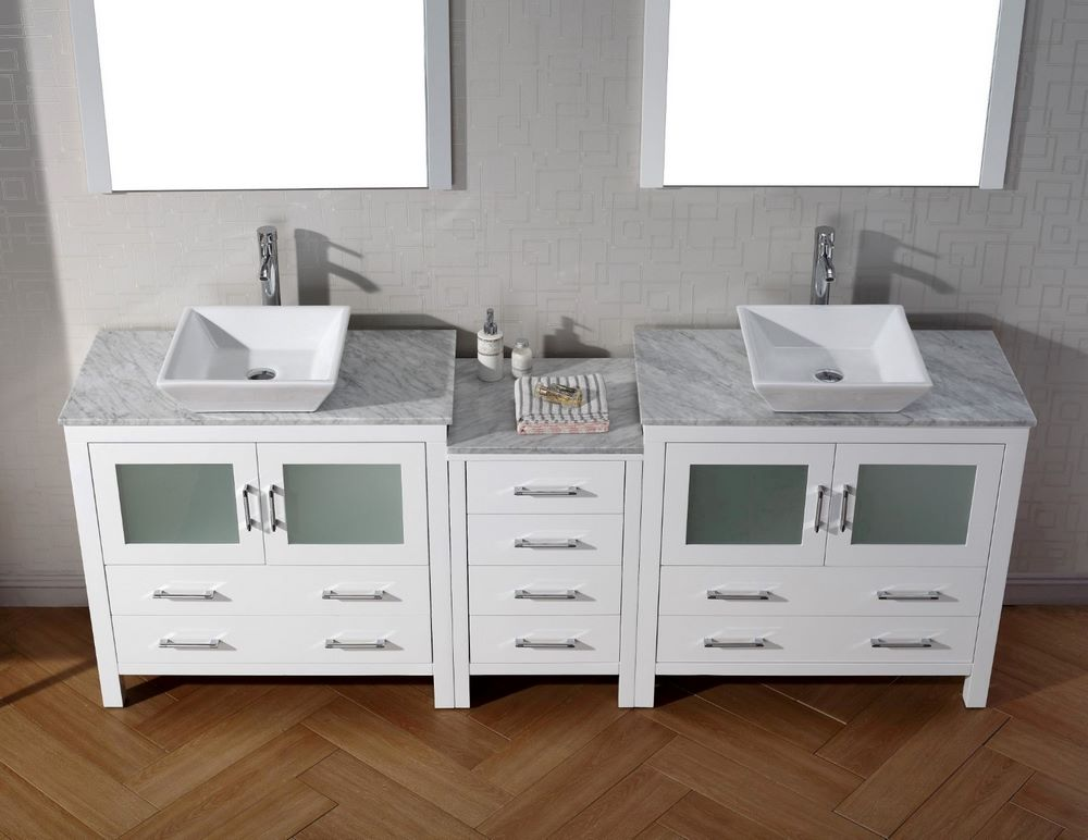 virtu usa dior 78 inch double bathroom vanity cabinet set in white