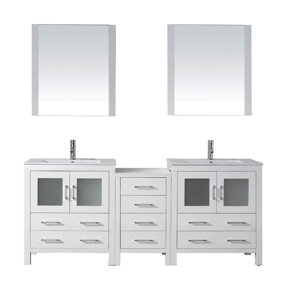 virtu usa dior 78 inch modern double bathroom vanity cabinet set in