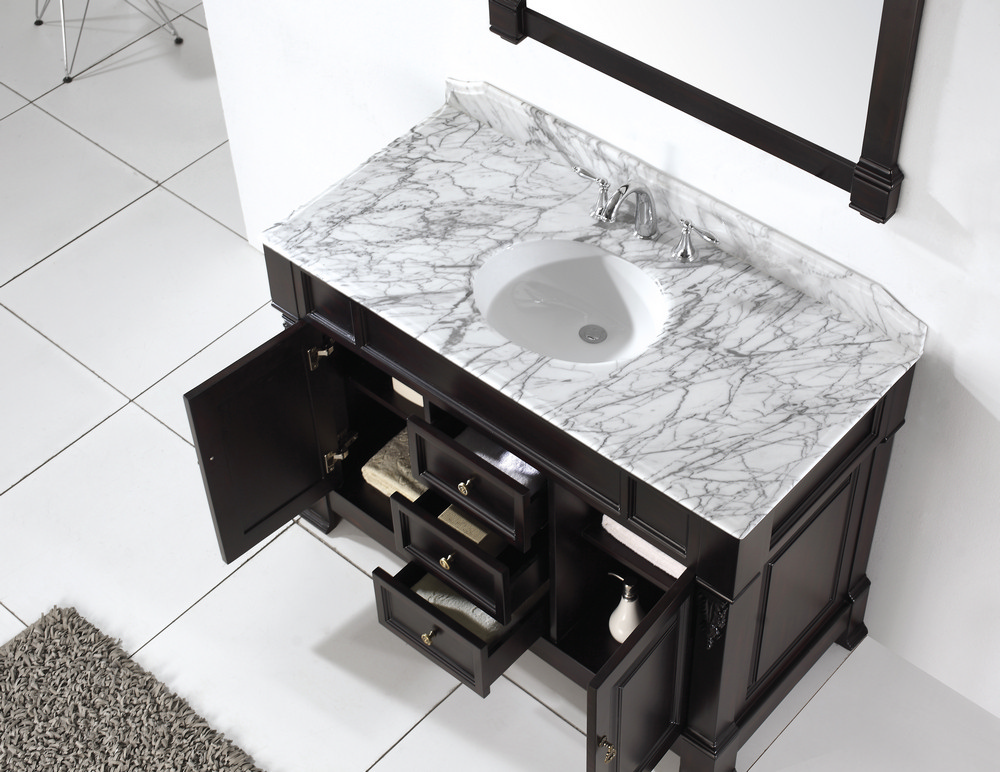 White Bathroom Vanity With Marble Top Rustic Style Carrara
