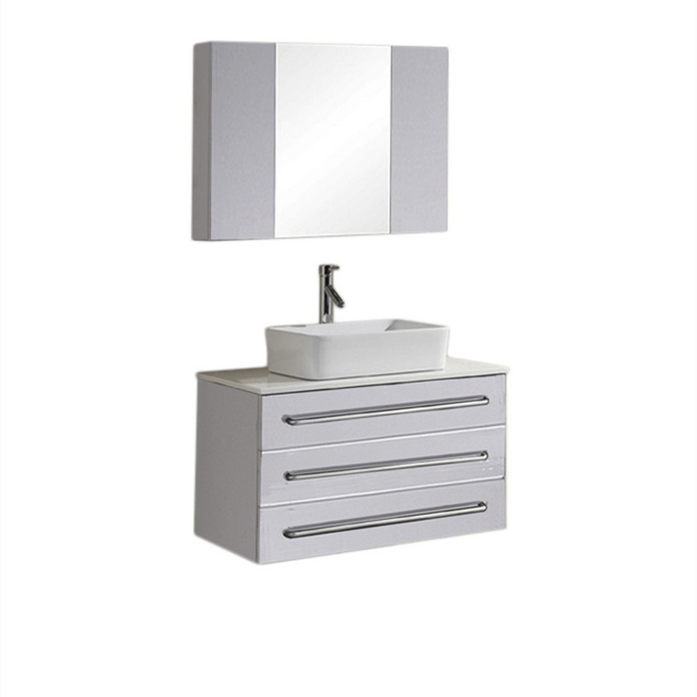 Ivy 32 Inch Single Sink Bathroom Vanity In White By Virtu USA