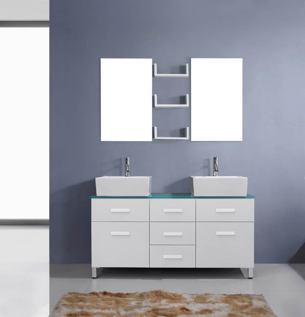 maybell 56 inch double sink bathroom vanity in white by
