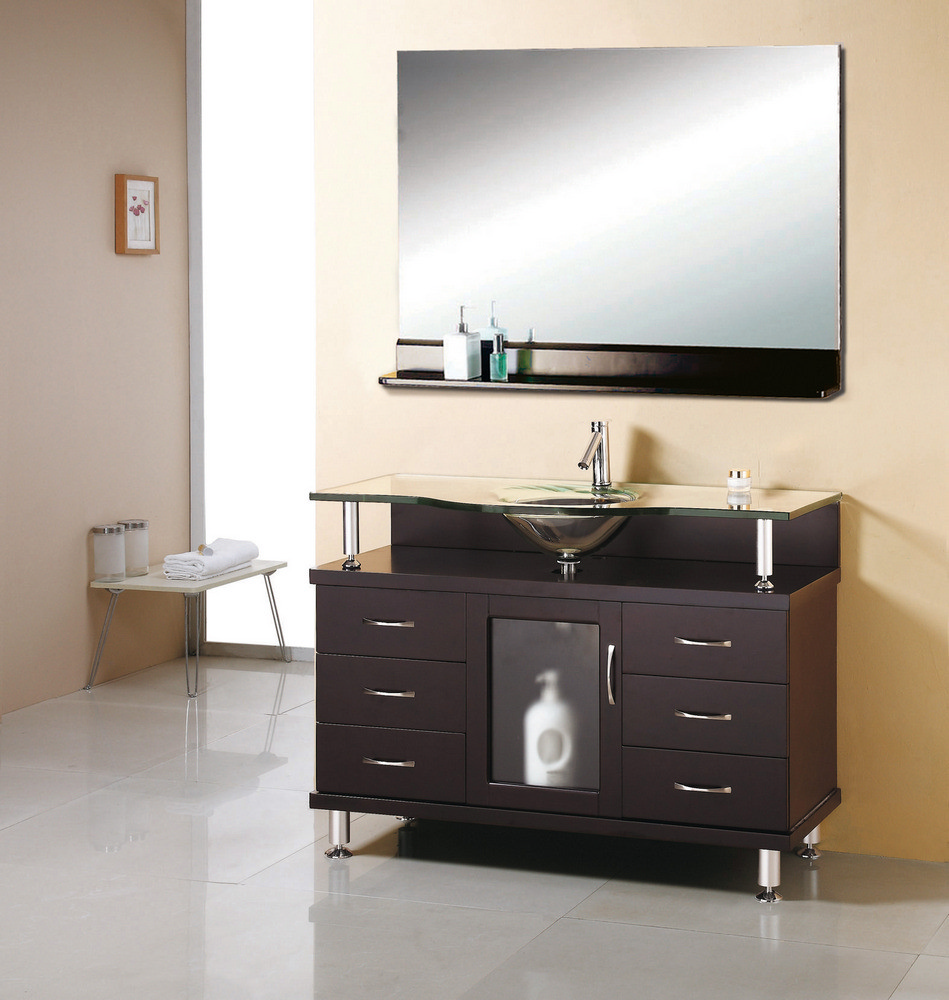 virtu usa vincente 48x22 drawer single sink bathroom vanity w mirror