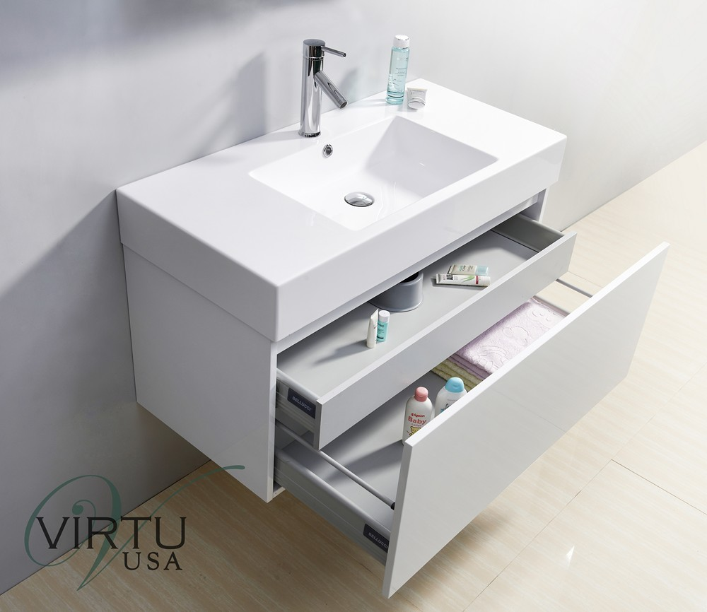 Zuri 39 Inch Single Sink Bathroom Vanity In Gloss White by Virtu USA
