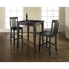 Buy Crosley Furniture 3 Piece 32x32 Pub Table Set w/ Cabriole Leg and School House Stools in Black on sale online