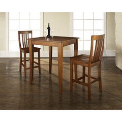 Buy Crosley Furniture 3 Piece 32x32 Pub Table Set w/ Cabriole Leg and School House Stools in Classic Cherry on sale online