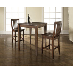 Buy Crosley Furniture 3 Piece 32x32 Pub Table Set w/ Cabriole Leg and School House Stools in Vintage Mahogany on sale online