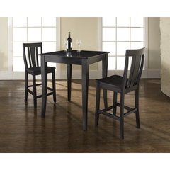 Buy Crosley Furniture 3 Piece 32x32 Pub Table Set w/ Cabriole Leg and Shield Back Stools in Black on sale online
