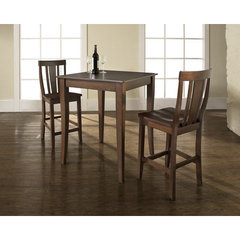 Buy Crosley Furniture 3 Piece 32x32 Pub Table Set w/ Cabriole Leg and Shield Back Stools in Vintage Mahogany on sale online