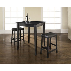 Buy Crosley Furniture 3 Piece 32x32 Pub Table Set w/ Cabriole Leg and Upholstered Saddle Stools in Black on sale online