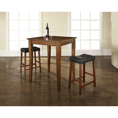 Buy Crosley Furniture 3 Piece 32x32 Pub Table Set w/ Cabriole Leg and Upholstered Saddle Stools in Classic Cherry on sale online