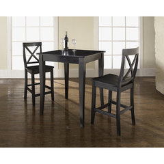 Buy Crosley Furniture 3 Piece 32x32 Pub Table Set w/ Cabriole Leg and X-Back Stools in Black on sale online