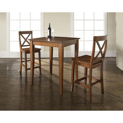 Buy Crosley Furniture 3 Piece 32x32 Pub Table Set w/ Cabriole Leg and X-Back Stools in Classic Cherry on sale online