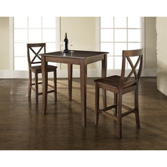 Buy Crosley Furniture 3 Piece 32x32 Pub Table Set w/ Cabriole Leg and X-Back Stools in Vintage Mahogany on sale online