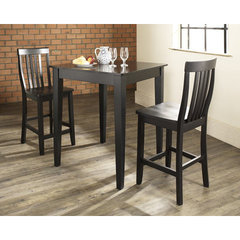 Buy Crosley Furniture 3 Piece 32x32 Pub Table Set w/ Tapered Leg and School House Stools in Black on sale online