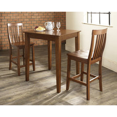 Buy Crosley Furniture 3 Piece 32x32 Pub Table Set w/ Tapered Leg and School House Stools in Classic Cherry on sale online