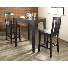Buy Crosley Furniture 3 Piece 32x32 Pub Table Set w/ Tapered Leg and Shield Back Stools in Black on sale online