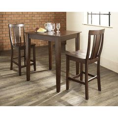 Buy Crosley Furniture 3 Piece 32x32 Pub Table Set w/ Tapered Leg and Shield Back Stools in Vintage Mahogany on sale online