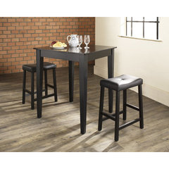 Buy Crosley Furniture 3 Piece 32x32 Pub Table Set w/ Tapered Leg and Upholstered Saddle Stools in Black on sale online