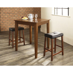 Buy Crosley Furniture 3 Piece 32x32 Pub Table Set w/ Tapered Leg and Upholstered Saddle Stools in Classic Cherry on sale online