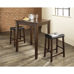 Buy Crosley Furniture 3 Piece 32x32 Pub Table Set w/ Tapered Leg and Upholstered Saddle Stools in Vintage Mahogany on sale online
