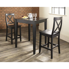 Buy Crosley Furniture 3 Piece 32x32 Pub Table Set w/ Tapered Leg and X-Back Stools in Black on sale online