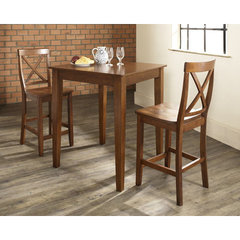 Buy Crosley Furniture 3 Piece 32x32 Pub Table Set w/ Tapered Leg and X-Back Stools in Classic Cherry on sale online