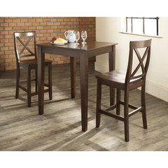 Buy Crosley Furniture 3 Piece 32x32 Pub Table Set w/ Tapered Leg and X-Back Stools in Vintage Mahogany on sale online