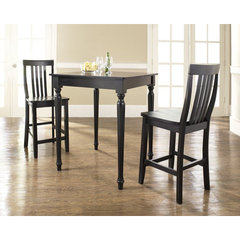 Buy Crosley Furniture 3 Piece 32x32 Pub Table Set w/ Turned Leg and School House Stools in Black on sale online