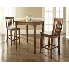 Buy Crosley Furniture 3 Piece 32x32 Pub Table Set w/ Turned Leg and School House Stools in Classic Cherry on sale online