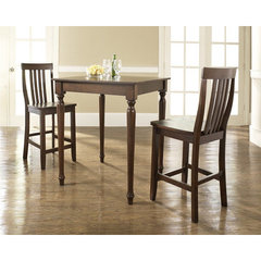 Buy Crosley Furniture 3 Piece 32x32 Pub Table Set w/ Turned Leg and School House Stools in Vintage Mahogany on sale online
