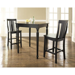 Buy Crosley Furniture 3 Piece 32x32 Pub Table Set w/ Turned Leg and Shield Back Stools in Black on sale online