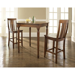 Buy Crosley Furniture 3 Piece 32x32 Pub Table Set w/ Turned Leg and Shield Back Stools in Classic Cherry on sale online