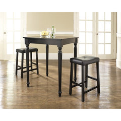 Buy Crosley Furniture 3 Piece 32x32 Pub Table Set w/ Turned Leg and Upholstered Saddle Stools in Black on sale online