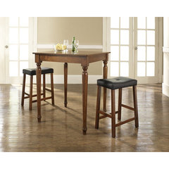 Buy Crosley Furniture 3 Piece 32x32 Pub Table Set w/ Turned Leg and Upholstered Saddle Stools in Classic Cherry on sale online