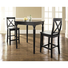Buy Crosley Furniture 3 Piece 32x32 Pub Table Set w/ Turned Leg and X-Back Stools in Black on sale online