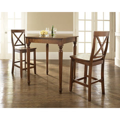 Buy Crosley Furniture 3 Piece 32x32 Pub Table Set w/ Turned Leg and X-Back Stools in Classic Cherry on sale online