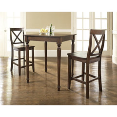 Buy Crosley Furniture 3 Piece 32x32 Pub Table Set w/ Turned Leg and X-Back Stools in Vintage Mahogany on sale online