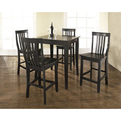 Buy Crosley Furniture 5 Piece 32x32 Pub Table Set w/ Cabriole Leg and School House Stools in Black on sale online