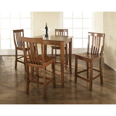 Buy Crosley Furniture 5 Piece 32x32 Pub Table Set w/ Cabriole Leg and School House Stools in Classic Cherry on sale online