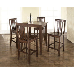 Buy Crosley Furniture 5 Piece 32x32 Pub Table Set w/ Cabriole Leg and School House Stools in Vintage Mahogany on sale online