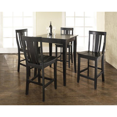 Buy Crosley Furniture 5 Piece 32x32 Pub Table Set w/ Cabriole Leg and Shield Back Stools in Black on sale online