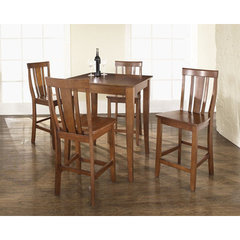 Buy Crosley Furniture 5 Piece 32x32 Pub Table Set w/ Cabriole Leg and Shield Back Stools in Classic Cherry on sale online