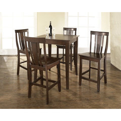 Buy Crosley Furniture 5 Piece 32x32 Pub Table Set w/ Cabriole Leg and Shield Back Stools in Vintage Mahogany on sale online