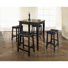 Buy Crosley Furniture 5 Piece 32x32 Pub Table Set w/ Cabriole Leg and Upholstered Saddle Stools in Black on sale online