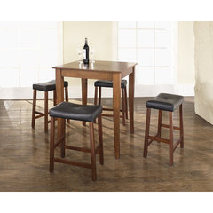 Buy Crosley Furniture 5 Piece 32x32 Pub Table Set w/ Cabriole Leg and Upholstered Saddle Stools in Classic Cherry on sale online
