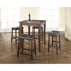 Buy Crosley Furniture 5 Piece 32x32 Pub Table Set w/ Cabriole Leg and Upholstered Saddle Stools in Vintage Mahogany on sale online